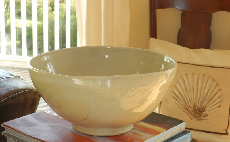 Ceramic Bowl and Seashell Pillow