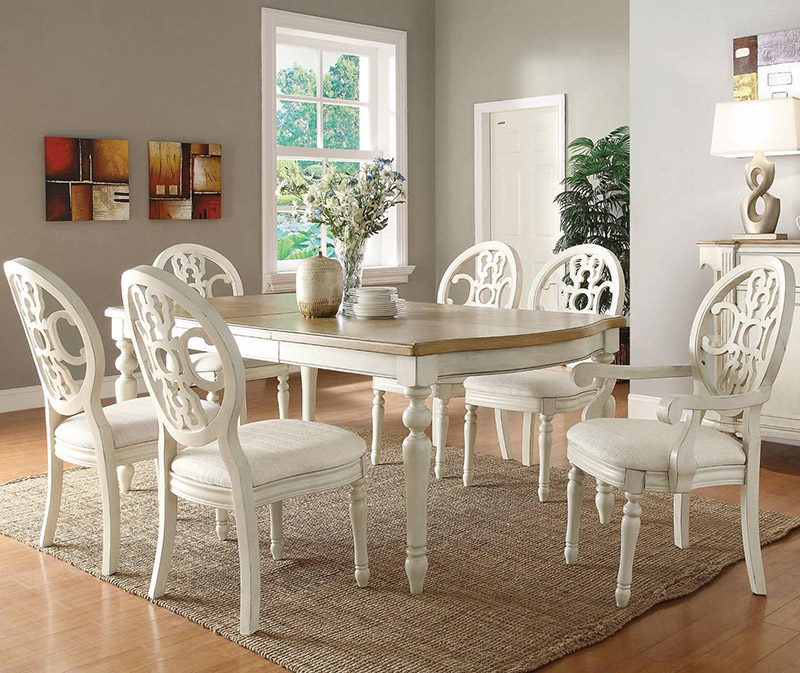Coasterfurniture48rebeccadiningtableantiquewhiteoak48 Simple Antique White Dining Room